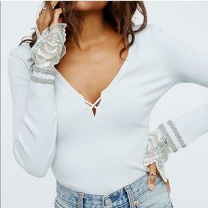 Free People Last Dance Lace Thermal Cloud Silver M
